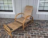 Vintage Lounge Chair, Boho Chair, Vintage Patio, French Chair, Rattan Chair, Wicker Chair, Beach Chair, Cottage Chair, Lounger,