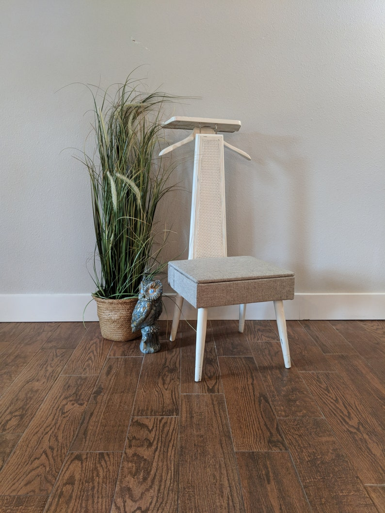 Vanity Valet Vintage Chair Sewing Bathroom Chair Makeup Chair Seat Compartment Mid Century Modern Chair Entry Chair Corner Chair