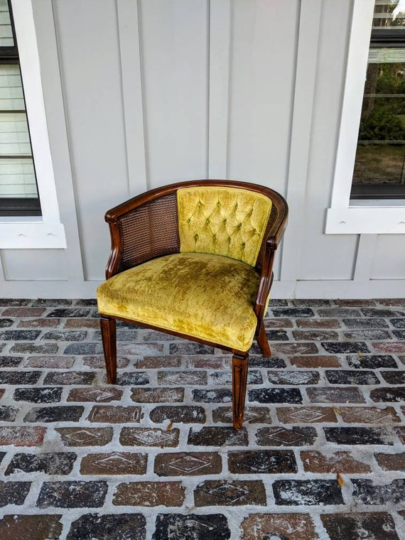 Remarkable Mid Century Chair Vintage Armchair Hollywood Regency French Provincial Accent Chair Cane Yellow Ans Gold Color Velvet Tufted Inzonedesignstudio Interior Chair Design Inzonedesignstudiocom