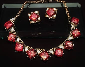 Vintage 1950's Signed Coro Confetti Lucite Necklace & Earring Set in Red and Gold