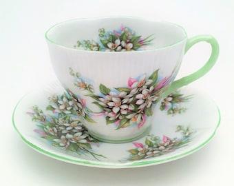 Vintage Royal Albert Bone China Tea Cup and Saucer, Blossom Time Series, Orange Blossom, Shelley Shape, ca. 1970-1980's