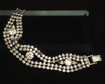 Stunning 1940's Hollywood Regency Era Vintage Clear Rhinestone Bracelet