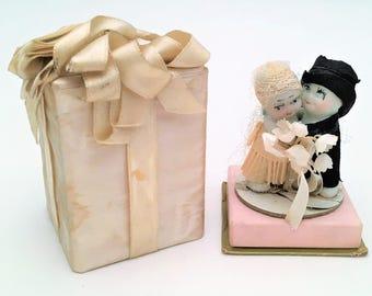 Vintage 1920's-1930's Bisque Kewpie Doll Wedding Cake Topper with Original Silk Box