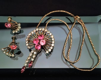 Vintage 1950's Van Dell Gold Filled with Pink & Clear Rhinestone Jewelry Set