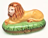 Retired Lion in Grass Limoges Trinket Box by Chamart - Exclusive