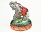 Retired Large Elephant with Saddle Limoges Trinket Box by Chamart
