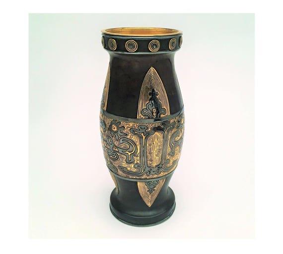 Christofle Chinese Archaic Style Patinaed Gilt Bronze Vase Etsy