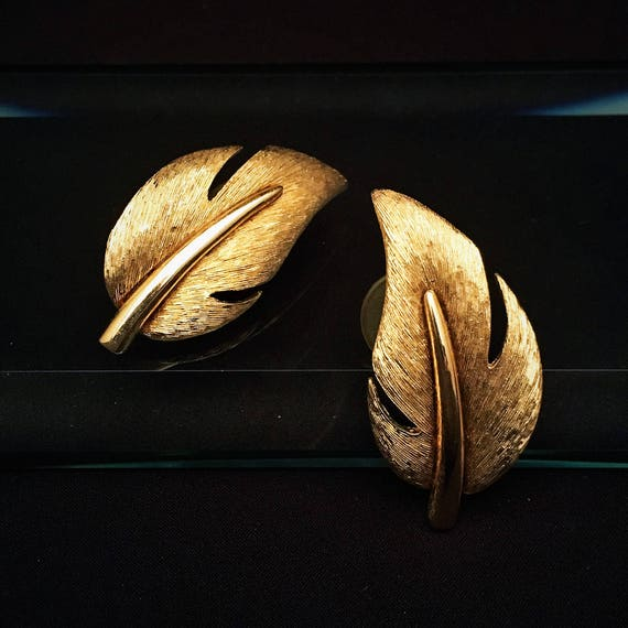 Vintage Mid Century Signed Givenchy Gold Leaf Ear… - image 1