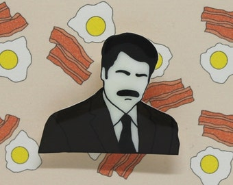 "Parks and Rec ""RON SWANSON"" Shrink Plastic Brooch"