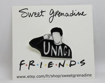 """Friends TV Show Shrink Plastic Brooch//Ross Geller """"UNAGI"""""""