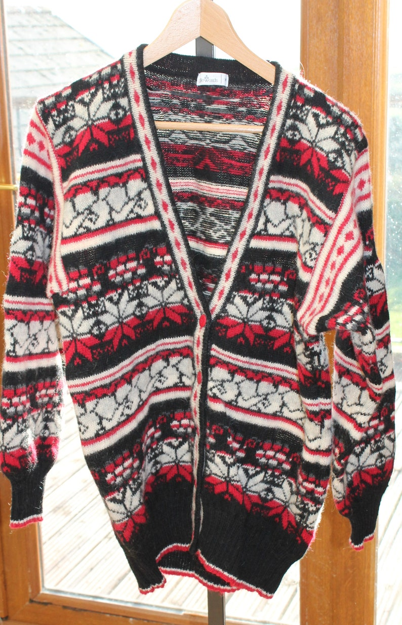 Christmas jumper Retro skiwear Vintage Littlewoods Nordic-style Cardigan Fits 40 inch chest approx UK size 1416