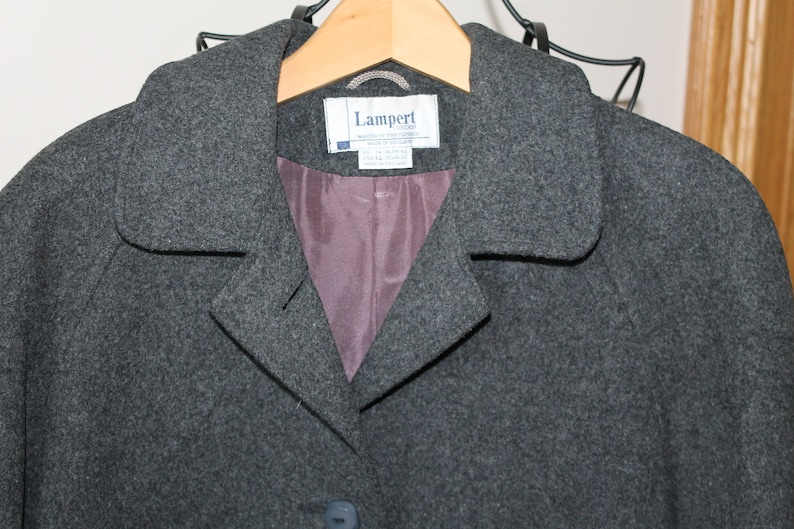Vintage Overcoat UK Size 14 to 16 Made in England Lampert of London 100/% Pure New Wool Grey Coat