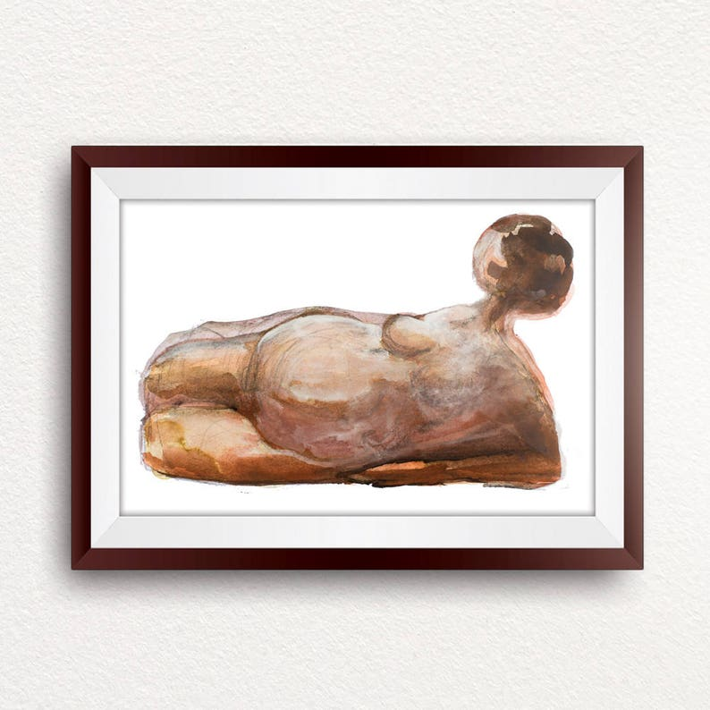 Midwife Gift Female Nude Drawing Doula Gift Printable Wall Art Instant Download Brown Home Decor Original Wall Art Figurative Art