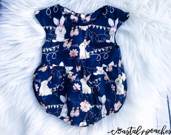 c4ed478366d1 Baby Girl Easter Romper   Toddler Easter Romper   Easter Dress  Rabbit  Bubble Outfit   Spring Outfit   Boutique Girl Clothes My First Easter