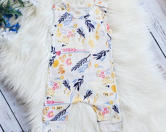 b0147c89b Spring Summer Floral Romper/ Baby Toddler Girl Romper / baby girl clothes/  toddler girl clothes Boutique Clothes / baby girl outfit