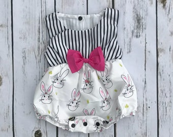 6f50b509835c READY TO SHIP Baby Girl Easter Romper   Toddler Easter Romper   Easter Dress    Rabbit Bubble Outfit   Spring Outfit   Boutique Girl Clothes