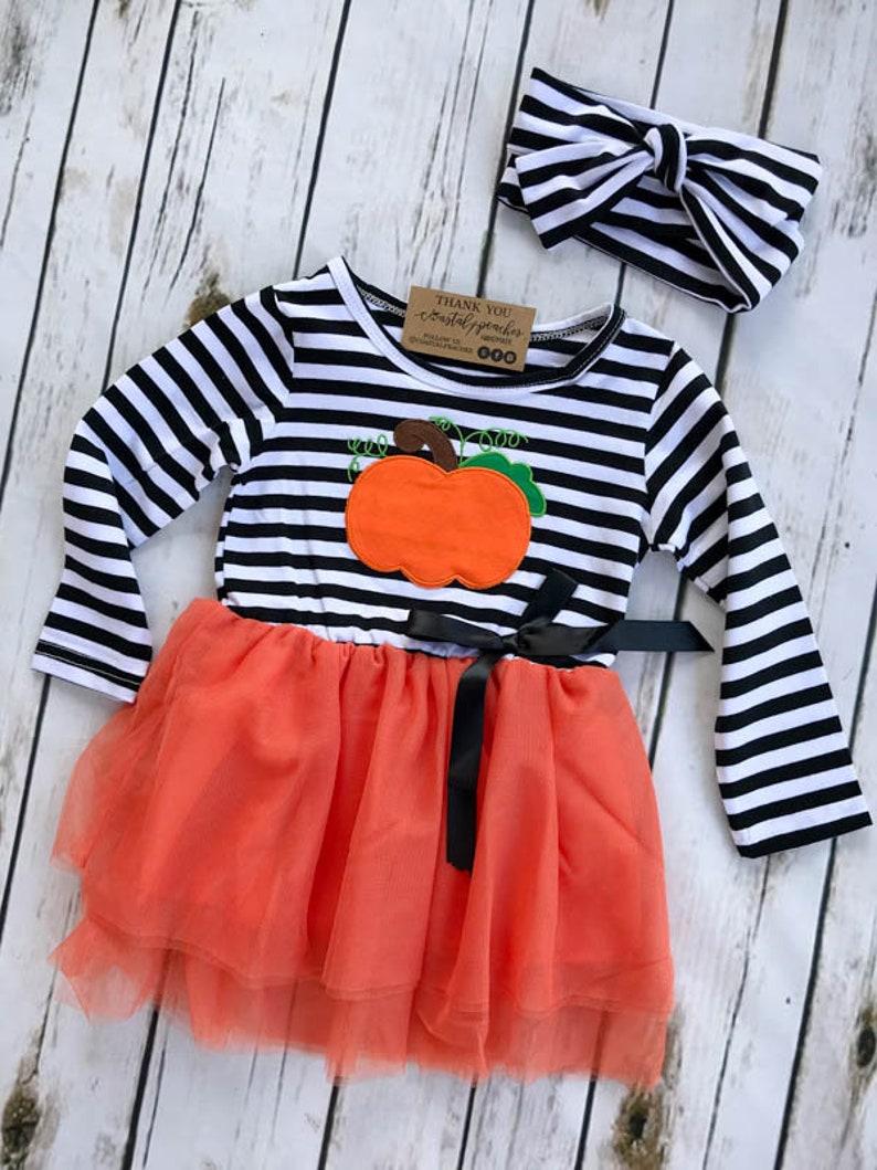8e49a283a Pumpkin Fall Dress / Girls Boutique Clothing / Toddler Girl   Etsy