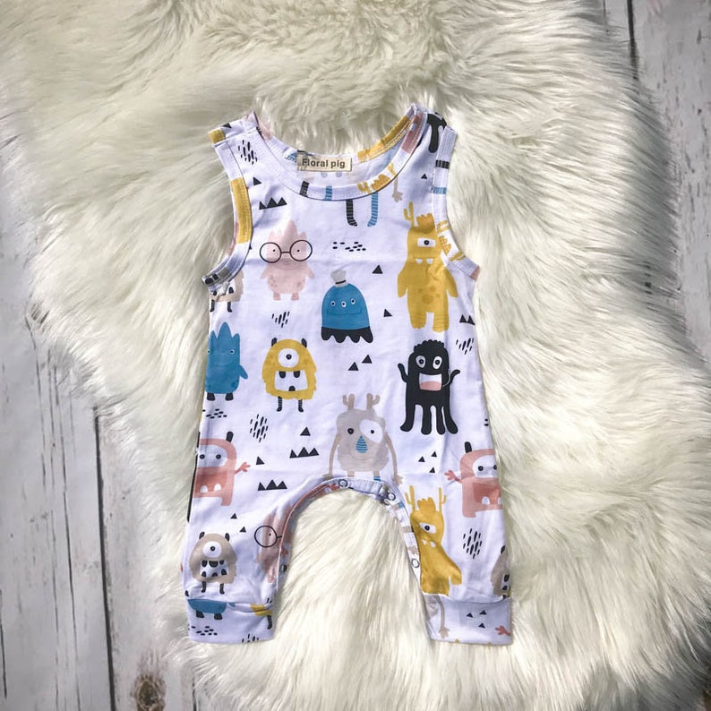 Infant Toddler Cute Monster Romper / Boutique/ 100% organic image 0
