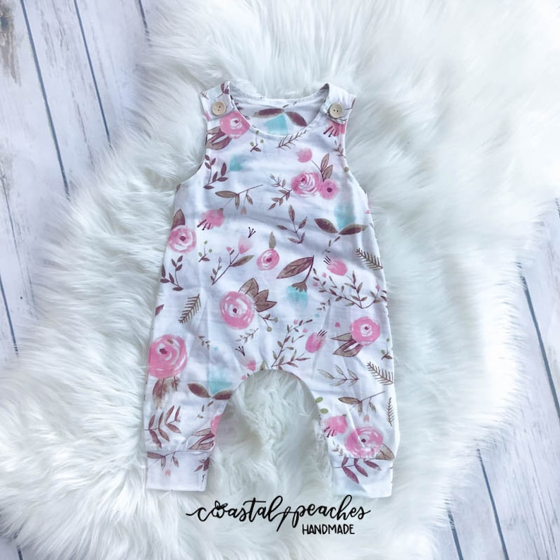 Watercolor Floral Romper Girls Boutique Clothing Baby Girl Etsy