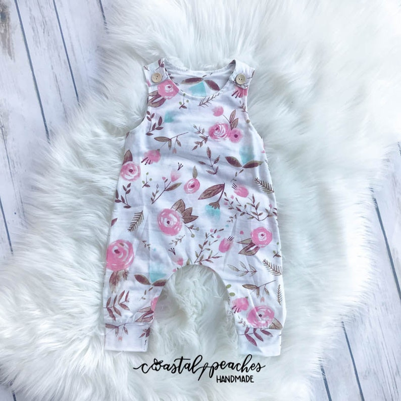 b887a8594da3 Watercolor Floral Romper   Girls Boutique Clothing   Baby Girl