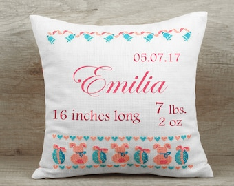 New parents gift New dad gift cushion Pink baby pillow Child rabbit pillow Newborn cushion cover Kids name baby shower gift Birth stats