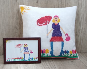 Kids drawing custom replica pillow, special made pillow from the picture, memory family keepsake 12 x 12 (32 x 32 cm) ~ unusual mother gift