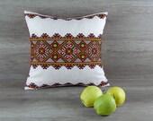 Ukrainian embroidery cross-stitch throw pillow case, Colorful embroidery cross stitch cushion, Ukrainian folk art country cushion,