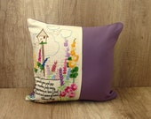 Violet garden embroidery pillow cover, Gardeners embroidered summer cushion, Hand embroidered needlework throw pillow covers floral