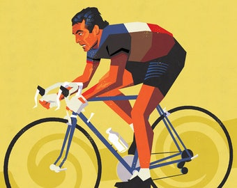 Bernard Hinault, Cycling print, Tour de France, Cycling art, Bike art