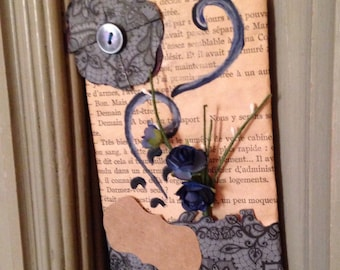Tag of customizable pasteboard door, style pasteboard, paper art nouveau and artificial flowers