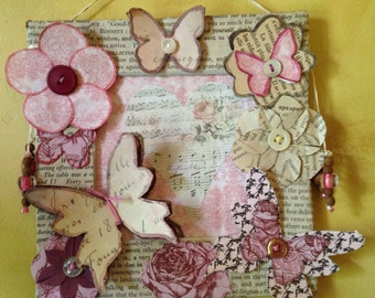 Butterflies and flowers frame