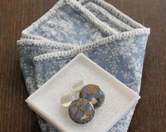 Amazing Men's Gift: Everyday Floral Crochet pocket square &  Mountain Stream Cufflinks, DDBESPOKESTUDIO