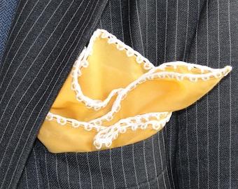Custom Crochet Pocket Square, Orange pocket square, Gentleman Crochet Handkerchief, Men's pocket square, Suit pocket square, DDBESPOKESTUDIO