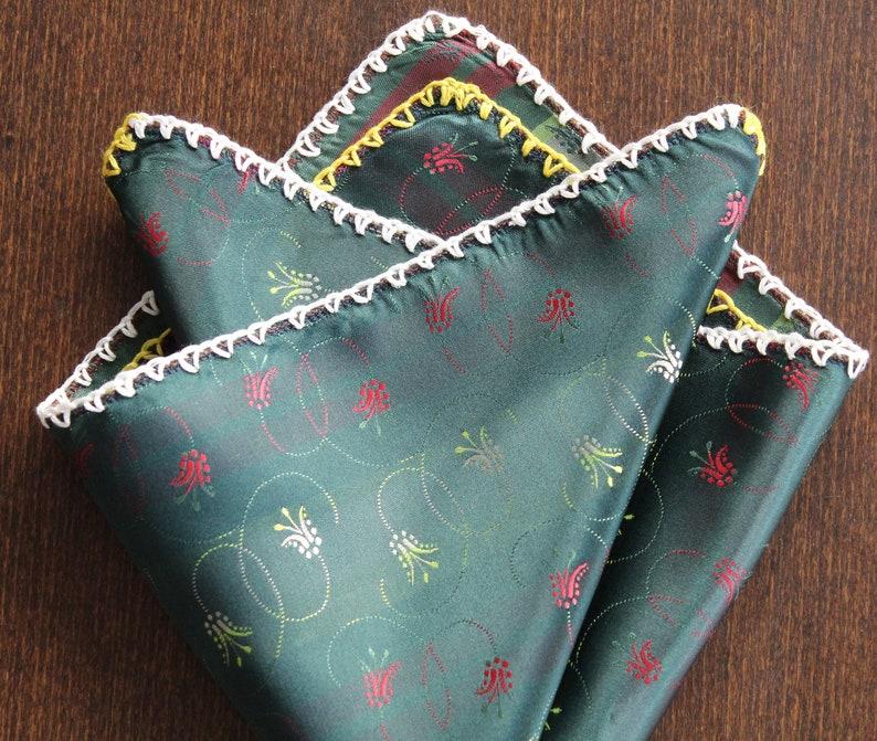 DDBESPOKESTUDIO Floral Pocket Square Grooms gift Suit PocketSquare Custom Crochet pocket square Gentleman gift Crochet Handkerchief