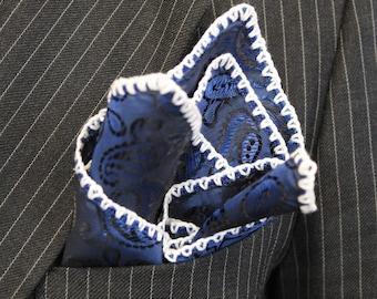 Custom Crochet pocket square, Paisley Pocket Square, Grooms hanky, Gentleman gift, Men's Handkerchief, Suit Pocket Square, DDBESPOKESTUDIO