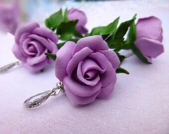 Lavender earrings Flower earrings Purple jewelry Floral earrings Flowers jewelry  Long earrings Drop Earrings Summer earrings Roses earrings