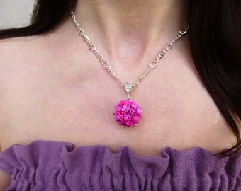 Fuchsia necklace Ball pendant Purple pendant Necklace Flower pendant  Unusual jewelery Floral Jewelry Gifts for Her