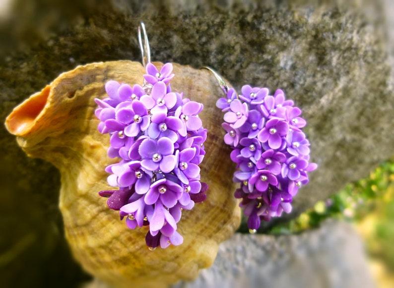 Flowers earrings Lilac earrings Purple earrings Floral Shades image 0