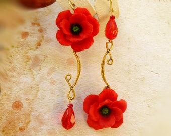 Mismatched earrings Asymmetrical earrings Long mismatch earrings Poppy earrings red flower earrings Clay earrings