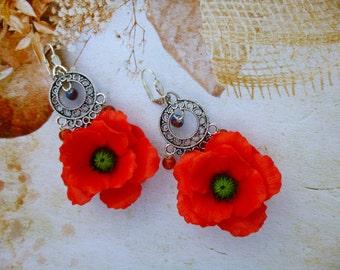 Red earrings Poppy earrings  Poppy jewelry  Poppy flower Flower earrings Red jewelry Summer earrings Jewelry red Handmade earrings