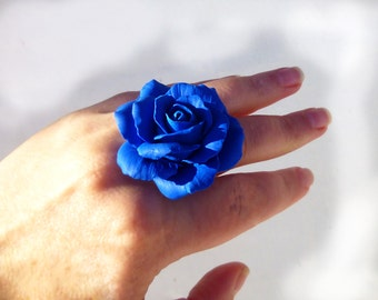 Rose ring Big ring Flower ring Royal blue ring Floral ring Unique ring Large ring Metal base Rhodium Hypoallergenic ring SIZE 6/7/8/9/10