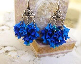 Unique earrings Gift for women Flower earrings Long earrings Jewelery flower Unusual Earrings Lilac earrings Large blue earring Tassel long