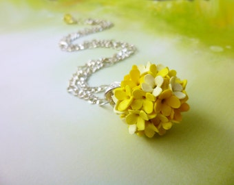 Ball pendant Yellow pendant Necklace Flower pendant Light yellow necklace Unusual jewelery Floral Jewelry Gifts for Her