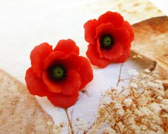 Poppy earrings Red flower earrings Poppy stud earrings Poppy jewelry Red stud earrings Cute earrings Floral earrings Poppy clay earrings