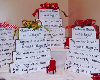 Christmas in Heaven - Remembering A Loved One - Leave An Empty Seat - Christmas - Christmas Decor - Holiday Decor