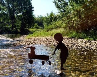 Garden Silhouette-Child with cart and dog-garden furniture iron and steel-metal garden art, gift for garden