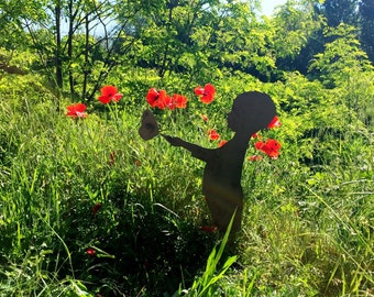 Garden silhouette-child with butterfly-outdoor furniture iron and steel-metal garden art, gift for garden