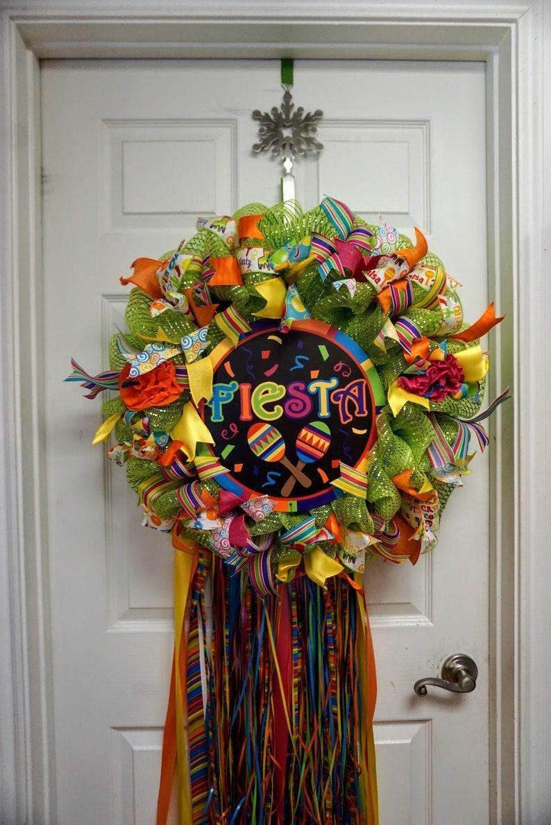 San Antonio Wreath Fiesta Wreath Birthday Deco Mesh Wreath Cinco de Mayo Wreath Fiesta Mesh Wreath Wedding Shower Wreath,