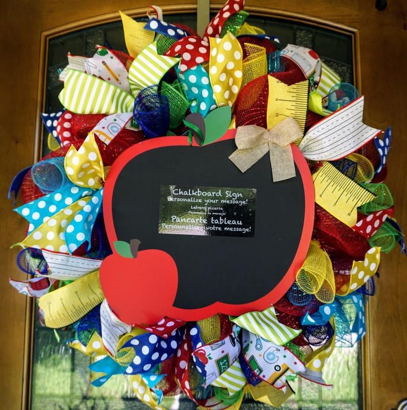 Apple Wreath, Classroom Wreath, School Wreath, Teacher Wreath, Teacher  Gift, Classroom Decor, Classroom Door Hanger, School Door Hanger