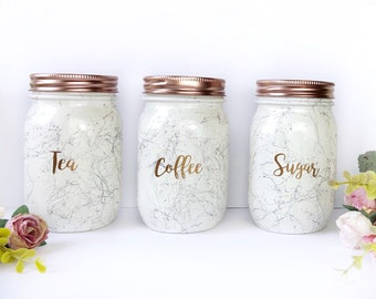 Tea Coffee Sugar Canisters, Rose Gold Accessories, Rose Gold Kitchen, Tea  Coffee Pot, Marble Canister Set, Marble Kitchen Decor, Kitchen Jar
